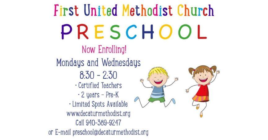 FUMC Decatur Preschool now enrolling SY 2018-19