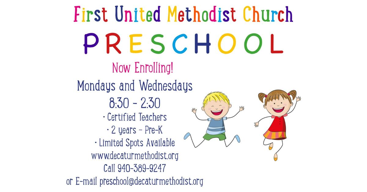 FUMC Decatur Preschool now enrolling SY 2018-19